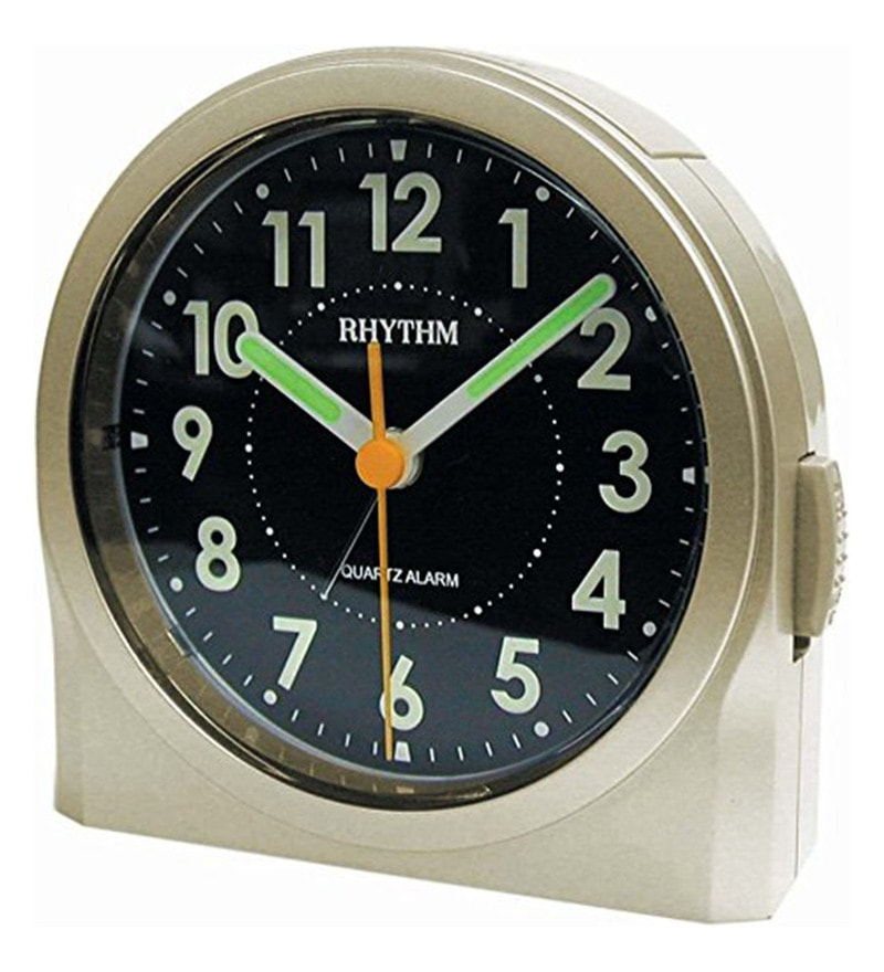 Plastic 3.7 x 1.6 x 3.8 Inch Beep Alarm Clock 4 Steps Increasing Beep Snooze Light Super Luminous Analog Clock by Rhythm