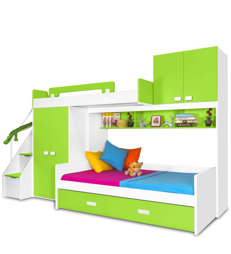 Buy Play Bunk Bed In Green Colour By Alex Daisy Online