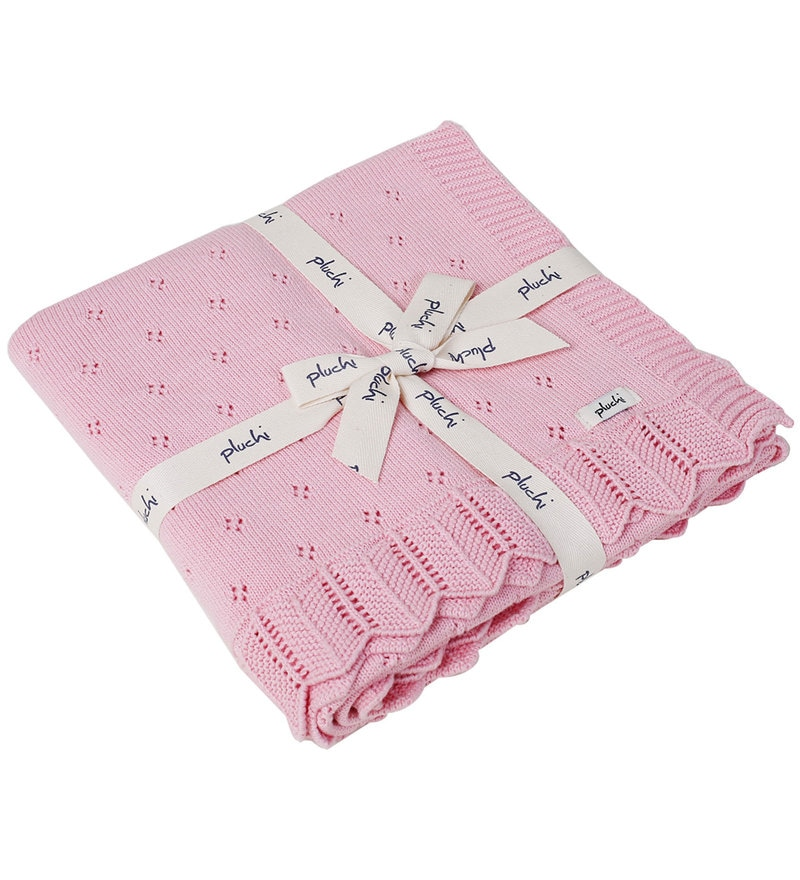 Aria Baby Blanket in Light Pink Colour by Pluchi