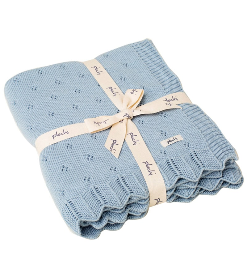Aria Baby Blanket in Sea Blue Colour by Pluchi
