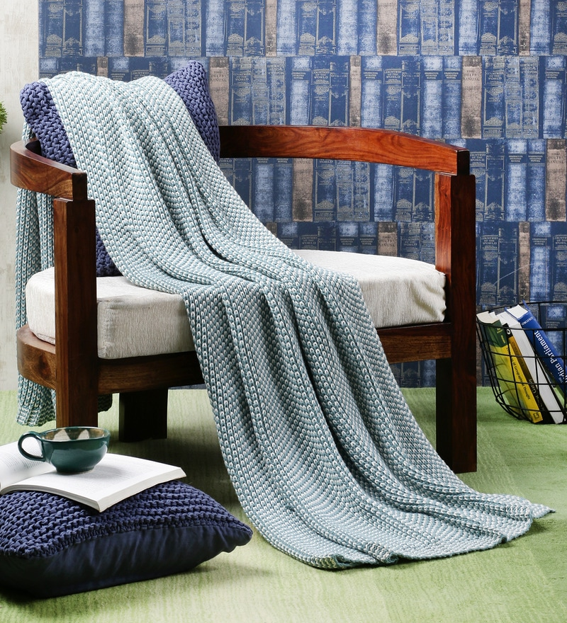 Becky Blue Cotton Single Throw Blanket by Pluchi