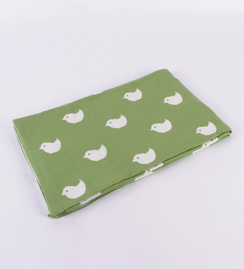 Birdies Knitted Baby Green Cotton Kid's Blanket by Pluchi