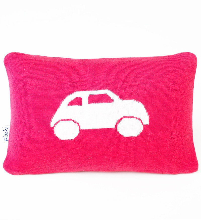 Car Cushion Pillow in Natural & Red Colour by Pluchi