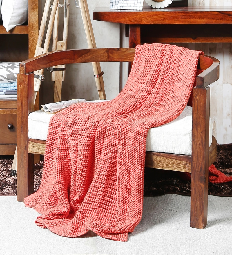 Pink Cotton Knit & Purl Throw by Pluchi