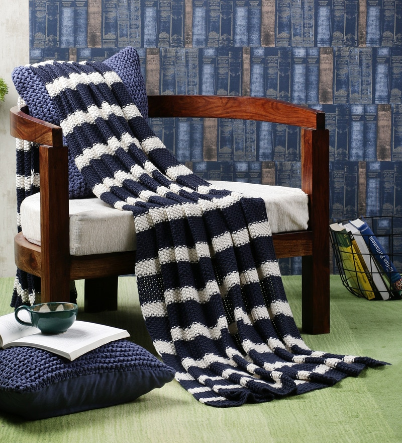 On The Beach Cotton Single Throw Blanket by Pluchi
