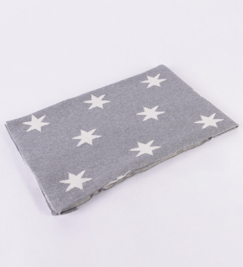 Twinkle Stars Knitted Baby Cotton Kid's Blanket by Pluchi