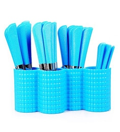 Pogo Opera Stainless Steel Blue Cutlerys With Stand - Set Of 24