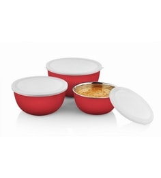 Pogo Red Stainless Steel Micro Microwave Safe Bowls - Set Of 3