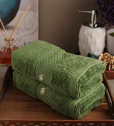 Portico New York Green Cotton 16 X 24 Inch Therapeia Fresh Hand Towel - Set Of 2