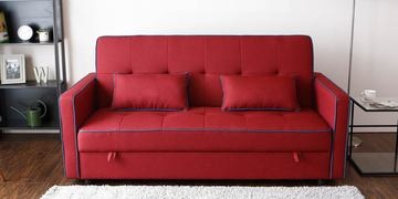 Porto Three Seater Sofa Cum Bed With Storage In Maroon Colour