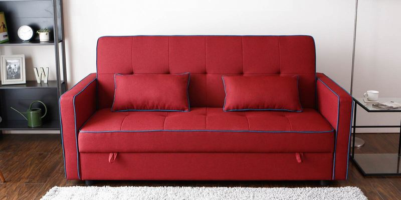 Porto Three Seater Sofa cum Bed with Storage in Maroon Colour by CasaCraft