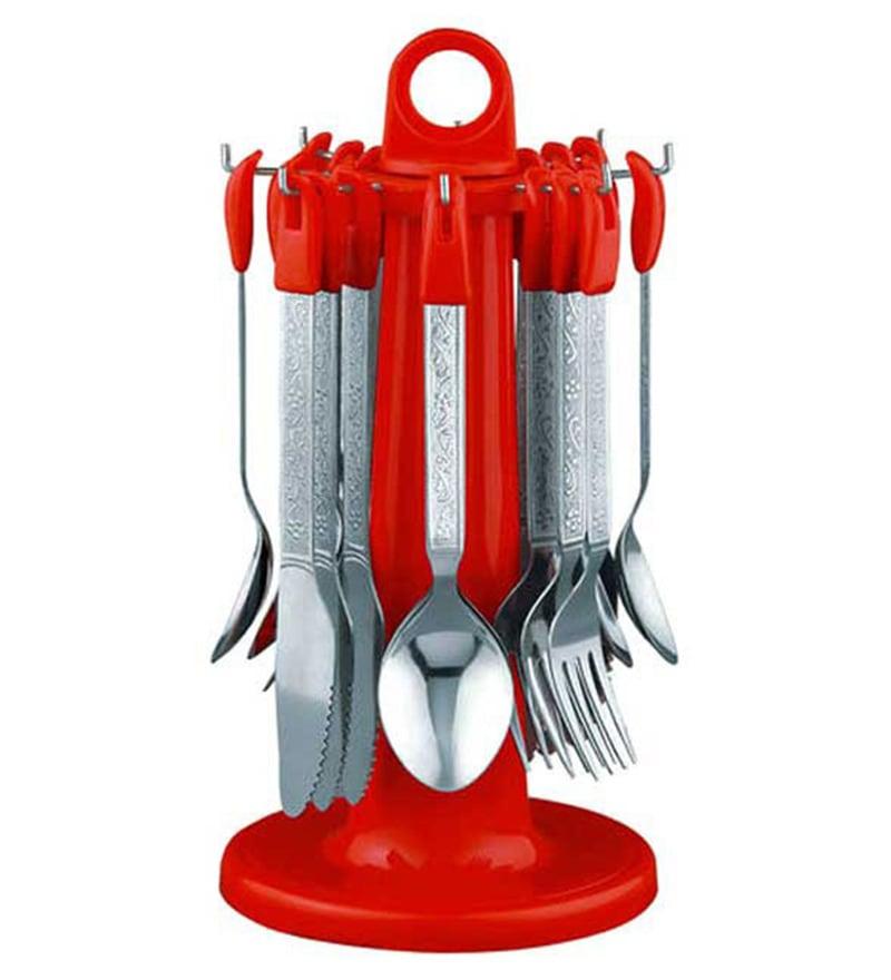 Pogo Olive Plastic Cutlery Set - 24 Pcs (Red)