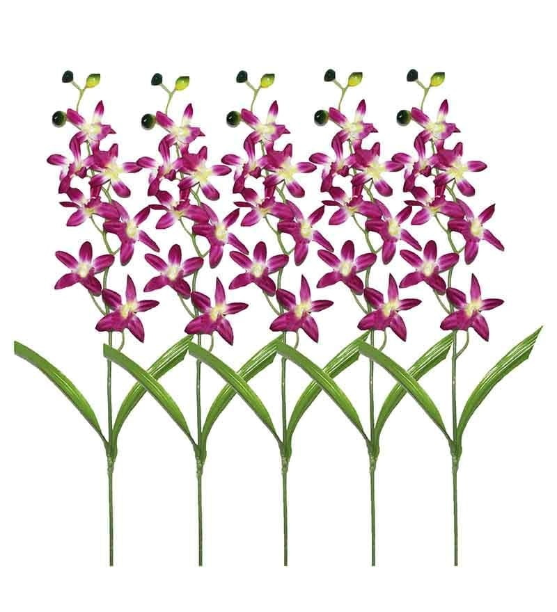 Purple Orchid Artificial Flowers - Set of 5 by Pollination