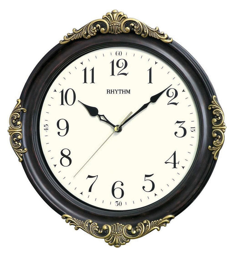 Polyresin 12.9 x 1.8 x 13.8 Inch Convex Glass Silent Silky Move Brown Case Wall Clock by Rhythm