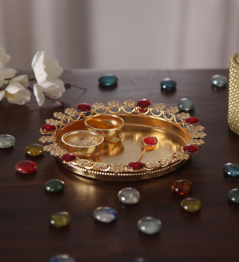 Multicolour Metal Pooja Thali by Gupta Glass Gallery