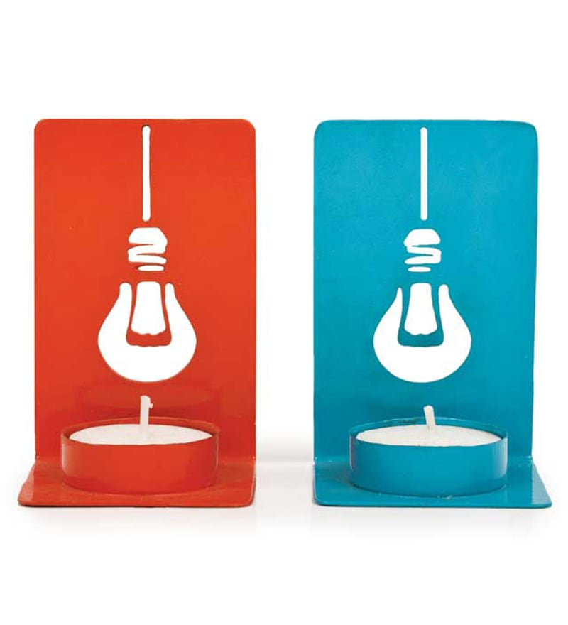Blue & Orange Aluminium See Through Me Tea Light Holders - Set of 2 by PoppadumArt