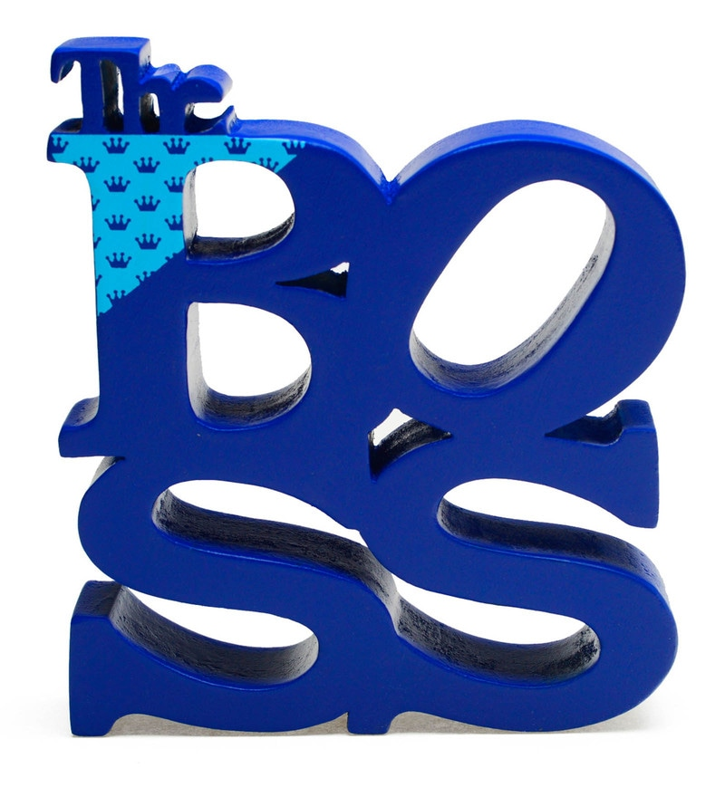 Blue Wood Four Letter Words - The Boss Showpiece by PoppadumArt