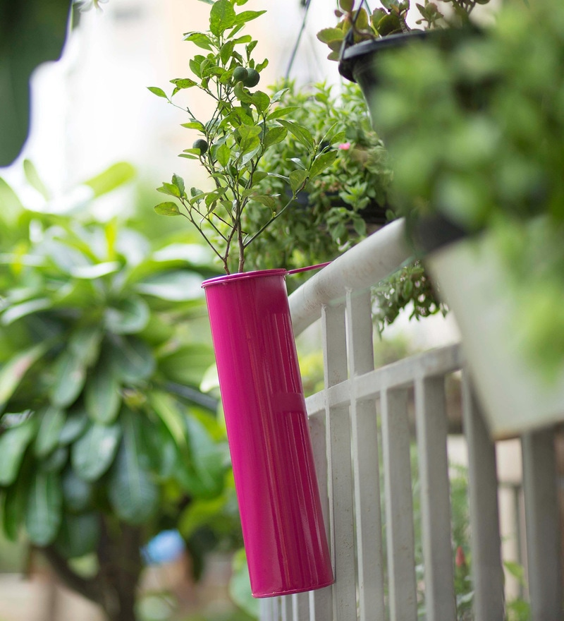 Hang on! Balcony Planter in Hot Pink by PoppadumArt