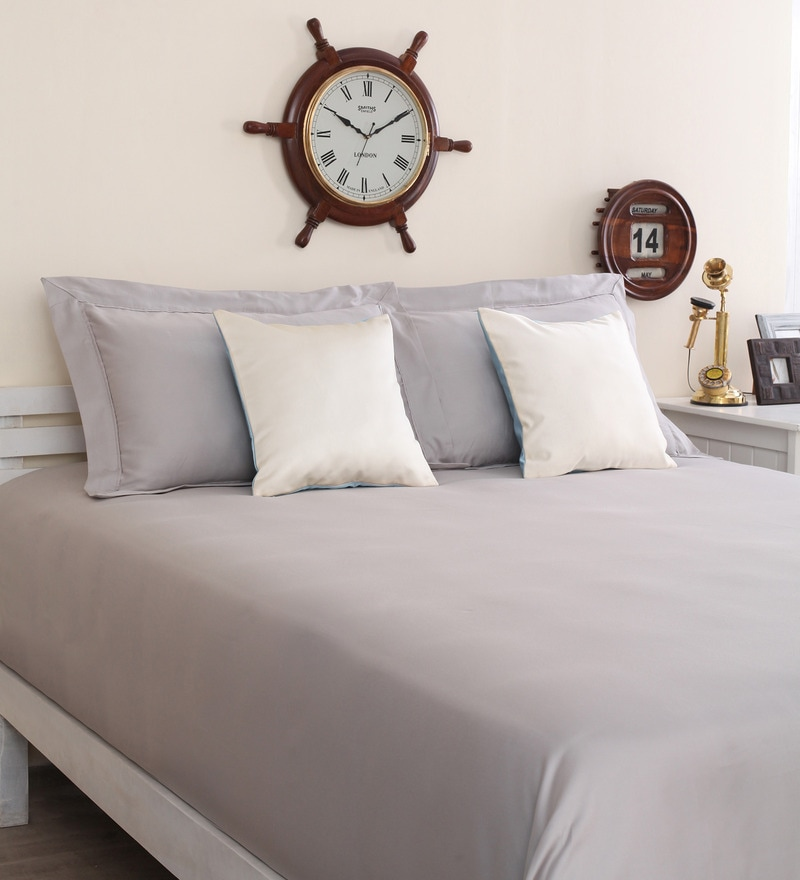Grey Cotton King Size Therapeia Bed Sheet with 2 Pillow Covers by Portico New York