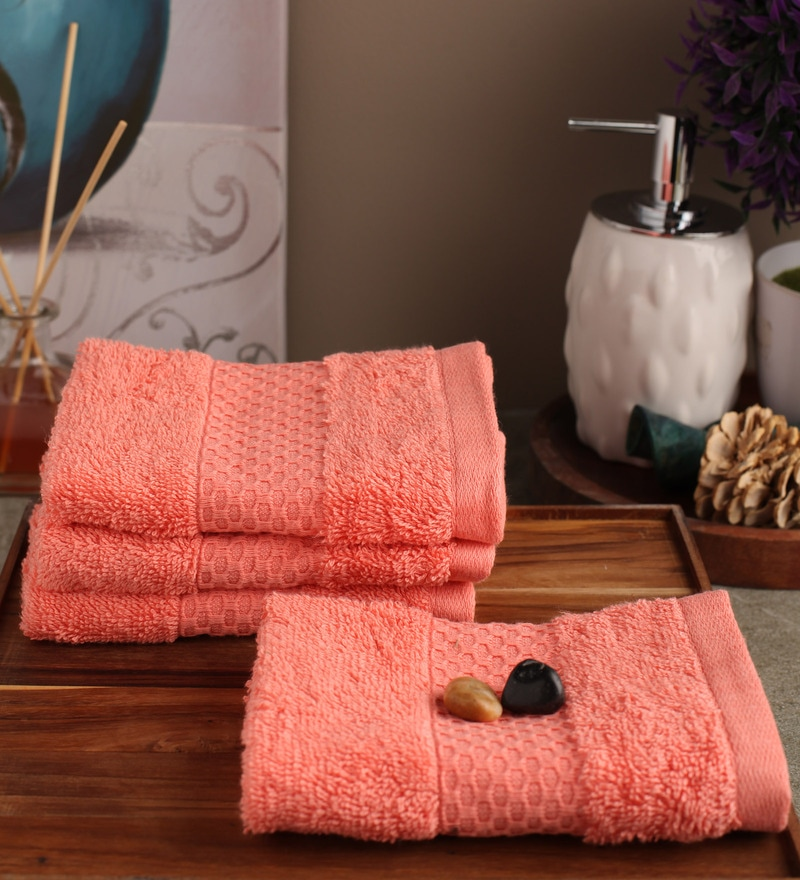 Portico New York Orange Cotton 12 x 12 Inch Therapeia Fresh Face Towel - Set of 4