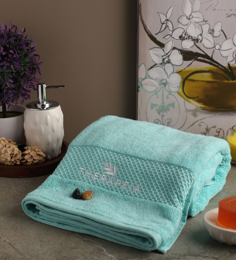 Portico New York Blue Cotton 30 x 60 Inch Therapeia Fresh Bath Towel