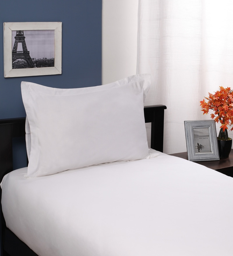 Whites Solids Cotton Single Size Bed Sheets - Set of 2 by Portico New York
