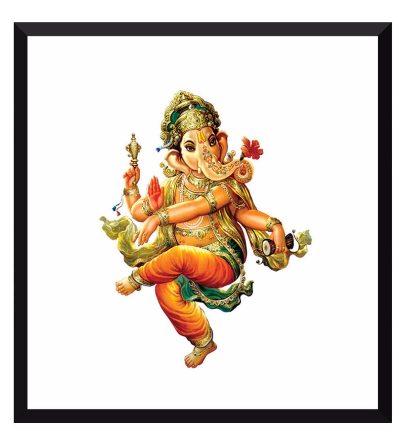 Poster Paper 12 x 13 Inch Traditional Indian Art Ganpati Vinayak Framed Poster by Tallenge