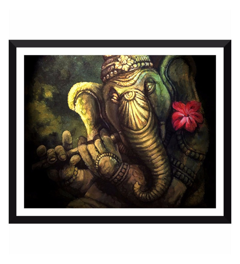 Poster Paper 12 x 15 Inch Ganapati Vinayak Playing Flute Framed Poster by Tallenge