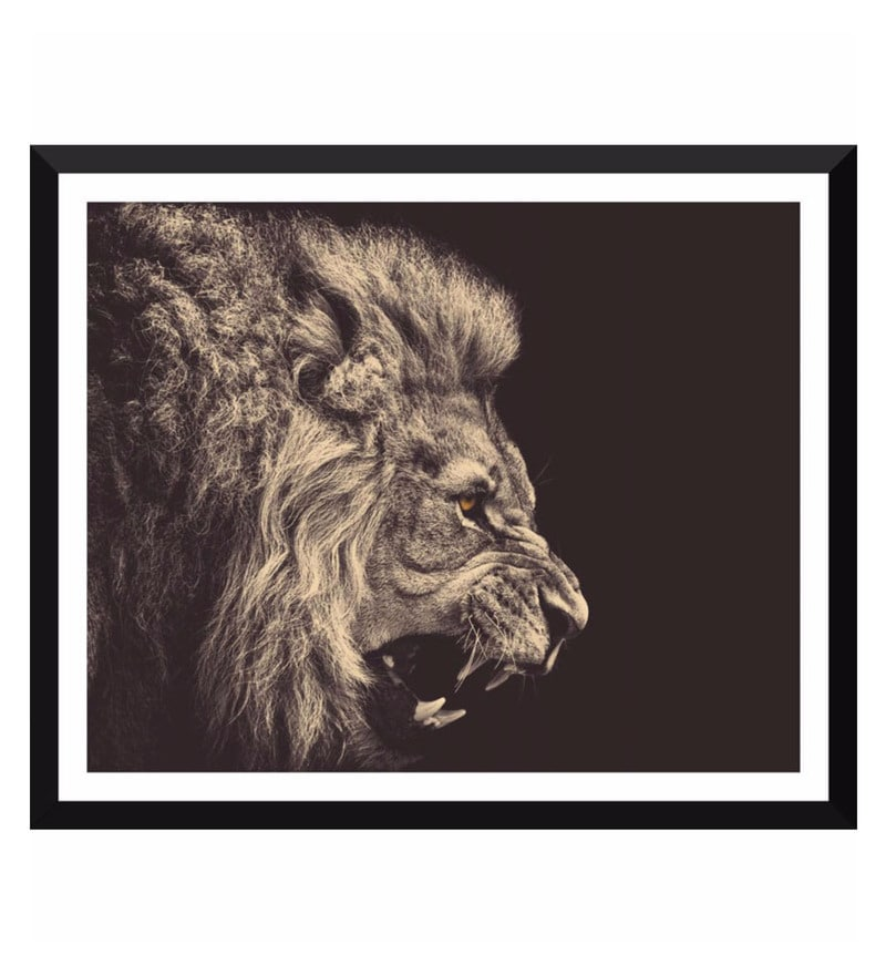 Poster Paper 12 x 15 Inch Roaring Lion Framed Poster by Tallenge