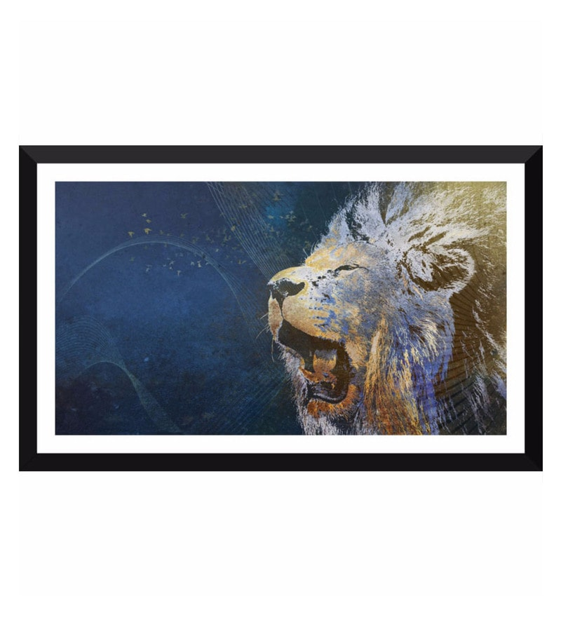 Poster Paper 17 x 10 Inch Blue Lion Painting Framed Poster by Tallenge