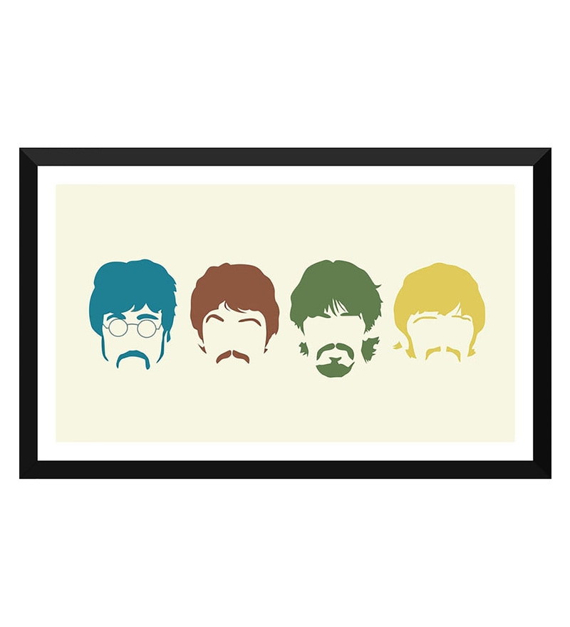 Poster Paper 17 x 10 Inch The Beatles Silhouette Haircut Mustache Members Framed Poster by Tallenge