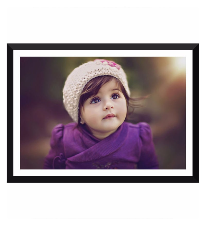 Poster Paper 17 x 12 Inch Cute baby Girl Framed Poster by Tallenge