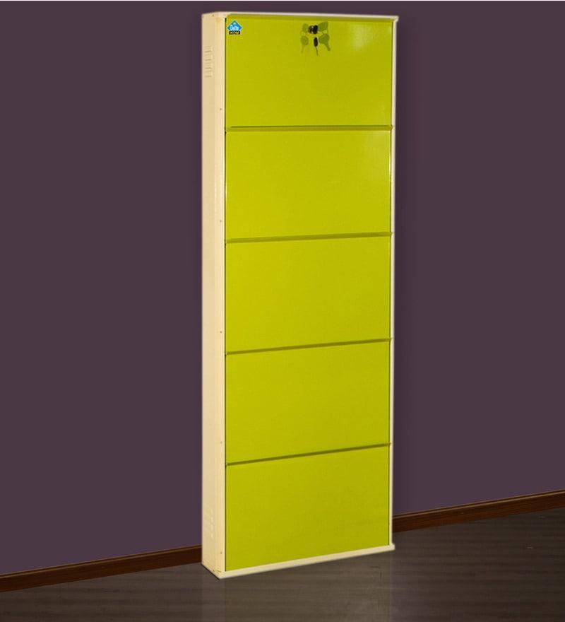 Powder Coated Metallic Five Door Shoe Rack in Beige & Green Colour by Delite KOM