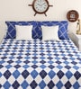 Blue Cotton Queen Size Marvella New Talk of the Town Bed Sheet with 2 Pillow Covers by Portico New York