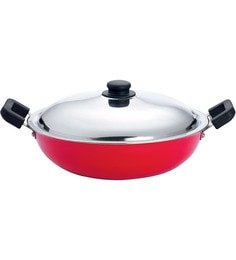 Premier Aluminium 10 Inch Red Kadhai With Stainless Steel Lid - 1384186