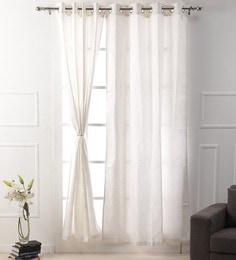Premium Dupion Silk White Color Self Design Eyelet 7 X3.8 Feet Door Curtain  ...