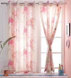 Premium Jute Finish Fl Digital Printed Curtain Window