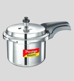 Prestige Deluxe Plus Induction Base Aluminium Pressure Cooker, 3 Litres, Silver