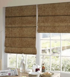 Brown Polyester Solid Window Blind