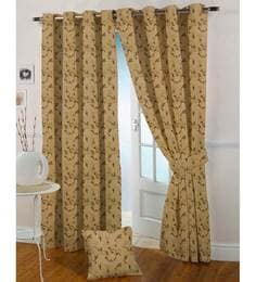 Brown Polyester 84 X 46 Inch Eyelet Door Curtain - Set Of 2