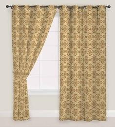 Yellow Jacquard Abstract Eyelet Door Curtain - Set Of 2