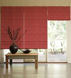 red polyester window blind