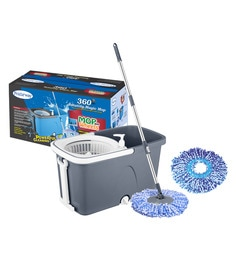 Primeway Stainless Steel & Polyester Executive Mop On 2 Wheels With Water Outlet, Liquid Dispenser With 2 Microfiber Heads - 1639980