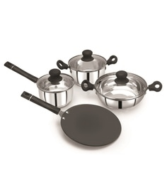Pristine Induction Compatible Combo Cookware Set With Bakelite Handle