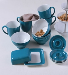 Pronto Breakfast Serve Set In Petrol - Set Of 13
