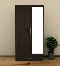 Prospero Two Door Wardrobe With Mirror In Midnight Oak Finish