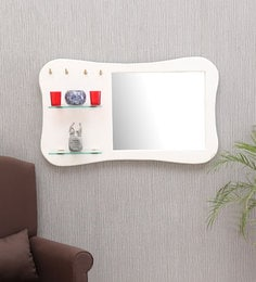 Provencal Solid Wood Wall Shelf With Mirror In White Finish