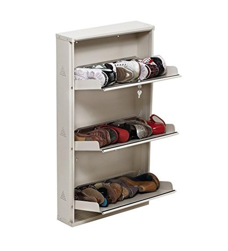 Buy Prab Metal Ivory 3 Folding Door Shoe Rack Online