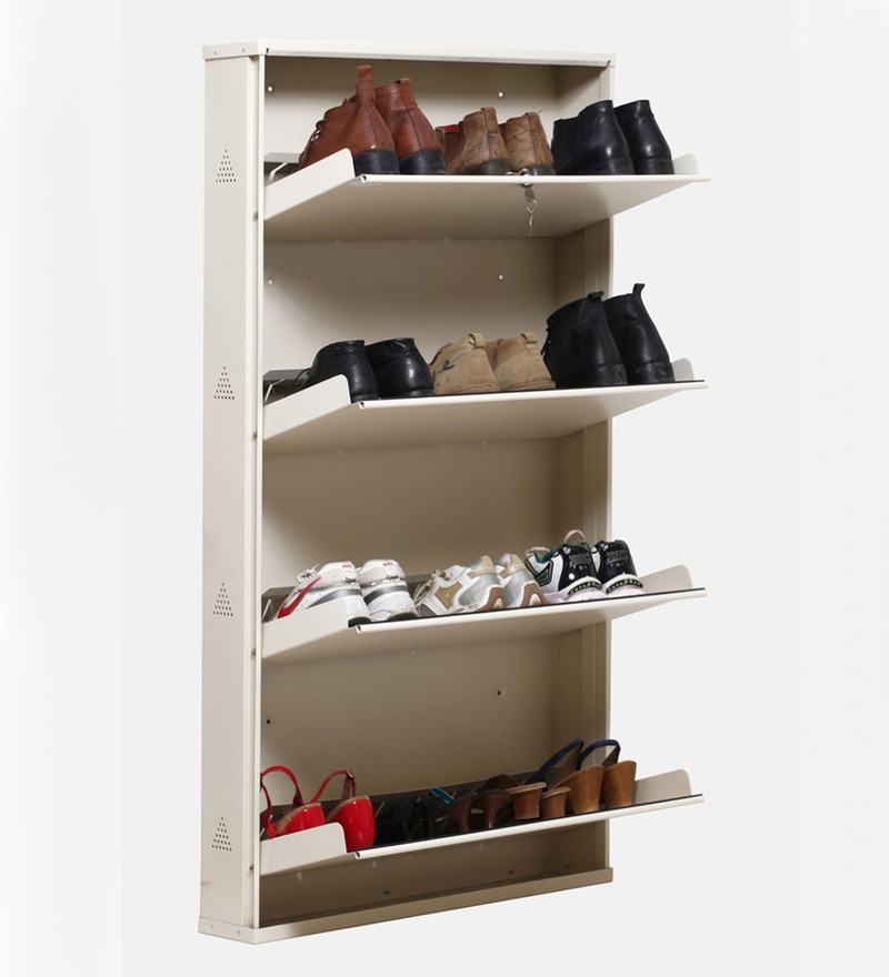 Buy Prab Metal Ivory 4 Jumbo Shelf Shoe Rack With Folding