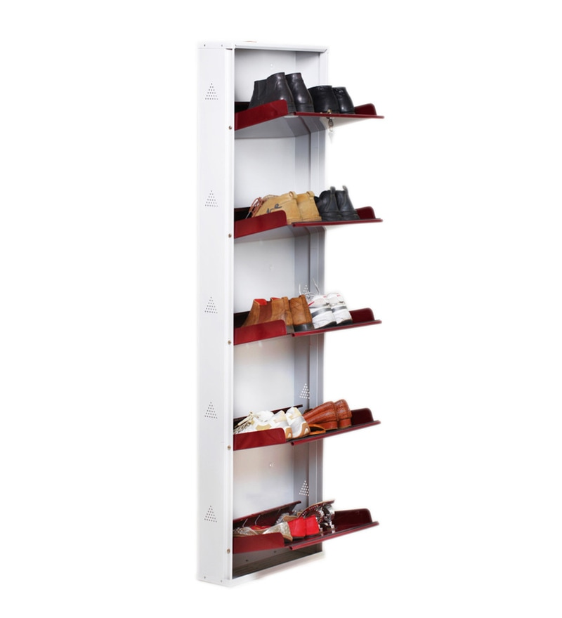 Buy Prab Metal White Amp Maroon 5 Shelf Shoe Rack Stand With